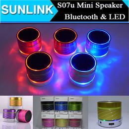 Wholesale S07U S08u Model Bluetooth Wireless Mini Speakers Subwoofer Support LED Flash calls Mobile phones tablet PC TF card FM DHL FREE