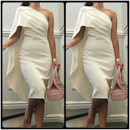 2016 Elegant One Shoulder Evening Dresses Wear Sexy Cheap Knee Length Cocktail Dress Saudi Arabia Women's Party Gowns