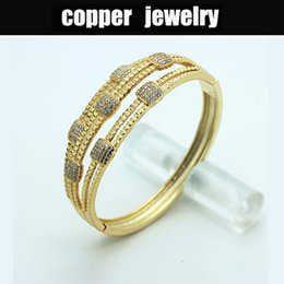 Wholesale Seven Bangles - fashion women's copper bangles full of crystal,Full drill Seven square bracelets for lady feeshipping