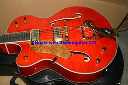 Left Handed Guitars Orange Flame top Falcon 6120 Jazz Guitar Bigbys gold hardware High Quality Guitars