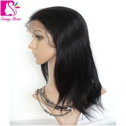 Promotion 18 black hair Reine beauté tissage brésilienne vierge perruque vierge de dentelle de cheveux humains avec l'expédition libre Perruques de dentelle de Glueless pour les personnes noires