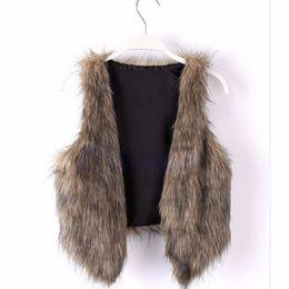 Wholesale-Woman Vintage Trend Celeb Faux Fur Waistcoat Vest Jacket Shawl Coat Tops S-XL