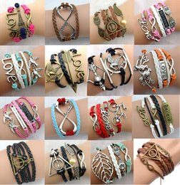 Wholesale Mixed style cross Infinity Anchor owl Branch love Bracelet bird believe faith courage Braided Leather Charm Bracelets Shengpi Sheng