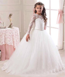 Elegant Long Sleeves Flower Girls Dresses For Weddings Lace Top Tulle Ball Gown White   Ivory First Communion Dress Custom Size