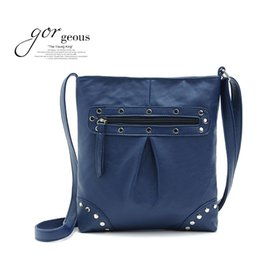 Wholesale-5 Colors Vintage PU Women Cross Body Bag Rivet Women Shoulder Messenger Bag, Phone Pocket