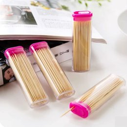 Wholesale boxed the portable an affordable fine toothpick natural bamboo fine two headed toothpick environmental exquisite