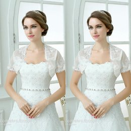 Wholesale Cheap Vest Wrap - 2015 Capped Sleeve Bridal Jacket Custom Made Cheap Bridal Wraps New Arrival Free Shipping Bridal Accessory White Ivory Vest
