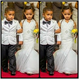 Romantic V Neck Mermaid Flower Girl Dresses for Weddings Floral Appliques Beautiful Little Girls Dress 2020 Robe enfant mariage