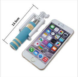 Wholesale Super Mini Monopod Cable Take Pole Foldable all in one Monopod Self Timer Kit With Groove For Iphone In Retail Package DHL Free