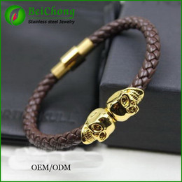 "BC Jewelry 1PC New Fashion NORTHSKULL Bangle Men's Stainless Steel Skull Clasp Black Leather Bracelet 20(8"") Long For Men BC-189"