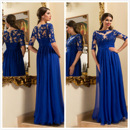 A-line Empire Royal Blue Evening Dresses Crystal Beaded Half Sleeves Chiffon Prom Gowns Floor Length Illusion Lace Appliqued Formal Dresses