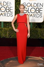 2016 Golden Globe Dress Best Dress Red Jennifer Lawrence Straight Long Gowns At 73rd Annual Golden Globe Awards 2016 Sexy Rhinestone Dress