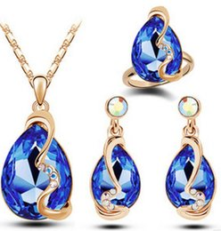Wholesale 2016 Explosion models Korean fashion star earrings Austrian crystal colored light necklace ring Parure