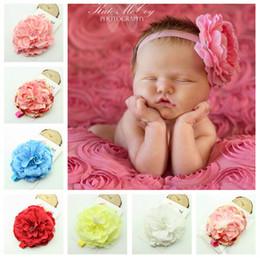 400pcs new Baby Girl Chiffon Rose Flower Headbands Girl Shabby Diamond Rhinestone Sequin Bows Rags Flower Headbands Headwear Headdress D185