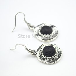 Wholesale E129 Dangle Drop Natural Stone Earring Pair Lava Rock Volcano stone not plastic or resin Vintage Look Antique Silver