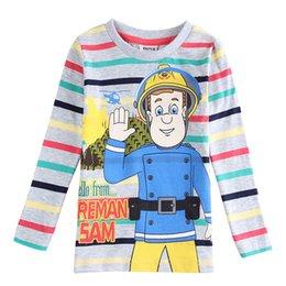 Wholesale A4321 Nova kids cartoon clothing boys FIREMAN SAM T shirts long sleeve stripe gray tops for spring autumn