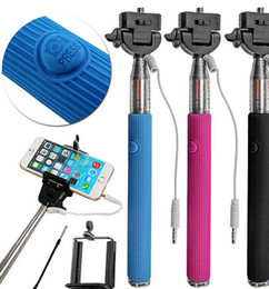 Wholesale Wired Selfie Stick Handheld Monopod Built in Shutter Extendable Mount Holder For Any Phones Camera price good quality