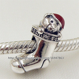 100% S925 Sterling Silver Christmas Stocking Charm Bead with Red Enamel Fits European Pandora Style Jewelry Bracelets Necklaces & Pendant
