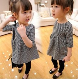 Wholesale Girls Dress Children s Wear Western Style Doll Dress Kids Plaid Tops Dress Middle Sleeve Babydoll Baby Childrens Clothes