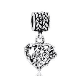 Promotion pendentifs en argent Love Heart Pendant 925 Sterling Silver European Charm Best Friend Beads pour Pandora Bracelets Serpent Chain Jewelry