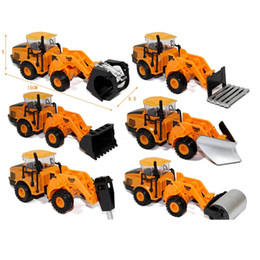 Wholesale 1 Mini Metal Alloy Toy engineering vehicles Road Roller Excavator Truck Models Toys Construction Trucks For Children Play Gift Car