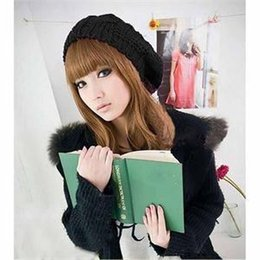 Wholesale-New Arrival 2015 Fashion New Lady Womens Wool Blend Beret Beanie Warm Winter Hat Kintted Wool Braided Ski Cap Women