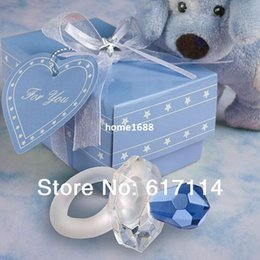 Wholesale Crystal Baby Pacifier Favors - 2014 Hot Sale! Europe and America style crystal wedding gift blue pacifier crystal Baby Shower Favors free shipping