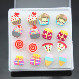 Wholesale lot 8pairs Mixed Style Girl's Children Lovely Handmade Fimo Polymer Clay Earrings Gift ME96