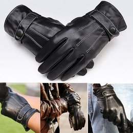 Wholesale New Men Super Luxurious PU Leather Winter Gloves touch screen smart phone gloves Driving Cycling Motorcycle Gloves Cashmere Wind Resisting