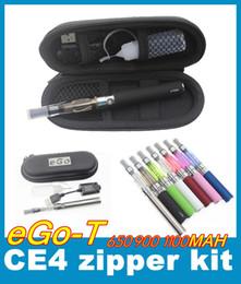 EGo CE4 Zipper Starter Kits E Cigarettes CE4 Atomizer Clearomizer Vaporizer Pen 650 900 1100mah Ego-t E Cigarette Zippper Case YA0029