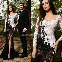 Fall Winter Prom Dresses Long Sleeves Appliques Lace See Through Floor Length White And Black Long Evening Prom Party Gowns