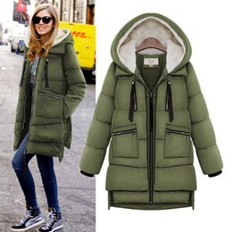 Wholesale 2014 Winter New European and American Women s Cotton Long sleeved Big Yards Down Parkas Cotton Hooded Military equipment Outerwear Coat
