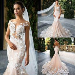 Milla Nova 2020 Cheap Sexy Mermaid Wedding Dresses Illusion Lace 3D Floral Appliques Illusion Open Back Court Train Bridal Gowns Plus Size