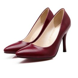 Wholesale-ENMAYER elegant solid high thin heel shoes office lady yellow black red women pumps plus size 34-43 slip on nude pumps