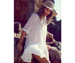 2016 NEW! Fashion Summer Dresses Boho Style O-Neck Hollow Mini Beach Dress Black white Lace beach cover ups 9286