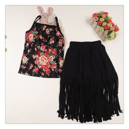 2015 summer girls outfit tops floral t shirts for girls tassel skirt for girls floral long skirt sets free shipping in stock