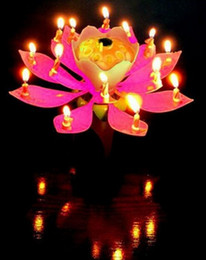 Wholesale 2015 Lotus Flower Music Candle Beautiful Blossom Lotus Flower Candle Birthday Party Cake Music Sparkle Cake Topper