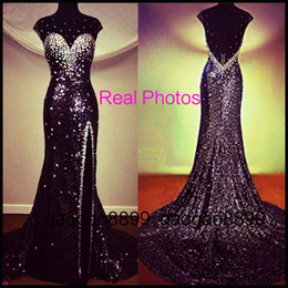 Wholesale Sexy Backless Sequins Crystal Prom Dresses Beaded Sheer Neck Split Formal Occasion Evening Pageant Celebrity Gowns Real Image Arabic