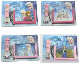 Hot Sale Frozen Anna Elsa Sets Watch And Wallet Purse Wrist Quartz Christmas Children Gift Boys Girls Cartoon Watches
