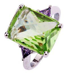 Wholesale Emerald Cut Green Amethyst & Amethyst 925 Silver Ring Size 7 8 9 10 Women Bridal Wedding Engagement Jewelry