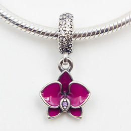 ORCHID SILVER DANGLE Charms DIY Beads Solid 925 Sterling Silver Not Plated Fits Pandora Bracelets & Bangles & Necklaces
