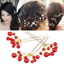 2016 Elegant Wedding Bridal Bridesmaid Man-made Pearls Hair Pins Clips Comb Headband 2 Colors (White & Red)