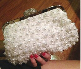 Wholesale-2015 Fashion Diamond Finger Ring Pearl Evening Bags Classic Luxury Day Clutch Wedding Party Clutch Two Sided Beaded Handbag
