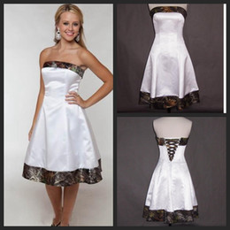 Short Camo Wedding Dresses 2016 Strapless Knee Length Cheap Bridal Gowns A Line White Satin