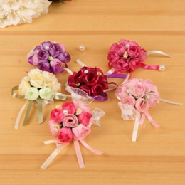 In Stock Wedding Bouquet Free Shipping Bouquets For Brides And Bridesmaid Wrist Flowers Flower Hand Bouquet Wedding Accessary Wrist Corsage