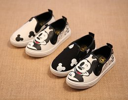 Wholesale 2015 NEW Children shoes MICKEY and CAT printing Canvas shoes Running shoes Kids shoes for girt color AB shoes size XS473