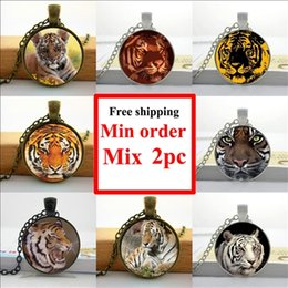 NS--00570 Tiger Necklace Wild Animal Picture Jewelry Men's Accessory Glass Cabochon Necklace Pendant