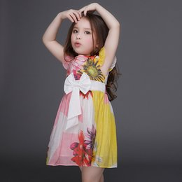 Wholesale Sunflower Flower Girls Dresses - 2016 Flower Girl Dresses Contrast Color Kids Dresses with Printed Sunflower Girls Party Dresses A Line Shape Kids Clothing Drop Shipping