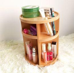 2015 nuevo estilo multifuncional 360 grados giratorio de madera natural de maquillaje titular de almacenamiento de cuidado de la piel gabinete de almacenamiento desde almacenamiento de maquillaje de madera proveedores