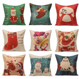 Wholesale-Christmas Series Home Textile Linen Cotton Pillow Cases Xmas Ambience Decorative Square Pillow Cover With Zipper